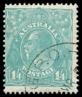 Lot 560:1/4d Greenish Blue - BW #131w CTO with full gum from collector set.