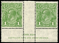 Lot 301:1d Green - BW #82(1)z Ash Imprint pair.