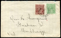 Lot 2295:½d Green - BW #65(7)d SW corner broken tied to cover with 1½d brown by Tararalgon cds 4 OC 20.