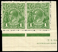 Lot 2783:1d Green - BW #79(4)j RA joined right unit in pair from base of sheet showing part Harrison Imprint.