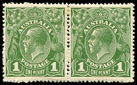 Lot 2782:1d Green - BW #79(3)f Dot before 1 right unit in pair.