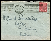 Lot 142:1d Red Rough Paper - tied to cover by Hobart 'Help to win the War ......' machine cancel 20 MAY 18.
