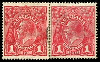 Lot 1145:1d Red Smooth Paper - carmine red matched pair with left hand unit showing variety thin G BW 71(2)k .