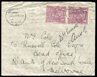Lot 1196:1d Violet - pair tied to cover by North Sydney cds 17 JAN 23.