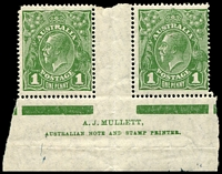 Lot 2835:1d Green - BW #80(4)z Mullett Imprint pair with left hand unit showing RA Joined (rounded corner).