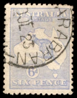 Lot 153:6d Blue Die II BW #19E, grey-blue shade.