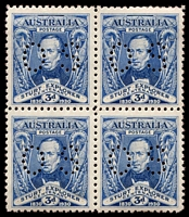 Lot 729 [2 of 2]:1930 Sturt set in blocks of four Perf 'OS', blocks are not common.