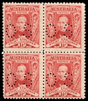 Lot 729 [1 of 2]:1930 Sturt set in blocks of four Perf 'OS', blocks are not common.