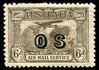 Lot 732:1931-38 Kingsford Smith Airmail Overprinted 'OS' BW #144(OS) 6d dull brown.