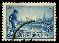 Lot 555:1934 Vic Centenary Perf 10½ BW #152d, 3d blue with variety Flag right of tower nearest native's hand.