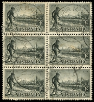 Lot 734:1934 Vic Centenary Perf 11½ BW #156 1/- black block of six used, scarce multiple.