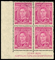 Lot 858:1938-50 1/4d Magenta KGVI corner block of 4 with Ash Imprint CTO BW 211za.