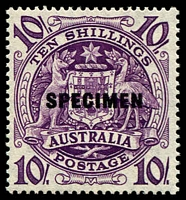 Lot 589:1949-64 Arms BW #269x 10/- Overprinted 'SPECIMEN'.