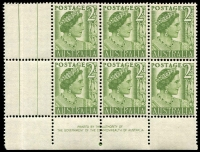 Lot 750:1951-62 2d Green QM BW #248zh gutter block of 6 (4**) coil perf with Authority Imprint.
