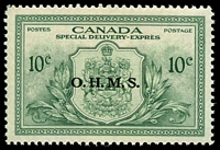 Lot 3784:1950 Special Delivery: SG #OS20 10c green Optd OHMS