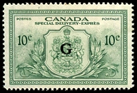 Lot 3785:1950 Special Delivery: SG #OS21 10c green Optd G.