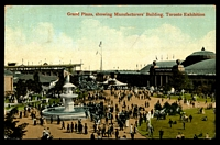 Lot 3593 [1 of 2]:1912 multi-coloured PPC 'Grand Plaza showing Manufacturers' Building, Toronto Exhibition' with adhesive tied by fine Canadian National Exhibition Toronto cancel Sep 4 1912 fine item.