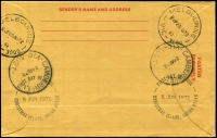 Lot 18771 [2 of 2]:1972 53c QEII HG #C3 red on buff with 1c & 3c Ships tied by FDC Christmas Island cds 5 JUN 1972, Registration label at left and Camberwell backstamps 24 AU 72, nice item.