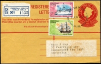 Lot 18771 [1 of 2]:1972 53c QEII HG #C3 red on buff with 1c & 3c Ships tied by FDC Christmas Island cds 5 JUN 1972, Registration label at left and Camberwell backstamps 24 AU 72, nice item.
