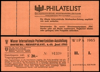 Lot 6 [2 of 2]:Austria: 1965 Wipa Imperf M/sheet together with Exhibition entry ticket. (2)