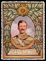 Lot 7:Great Britain: c.1916 multi-coloured label with portrait of Major R.H.L. Cutbill issued for Lord Roberts Memorial Fund.