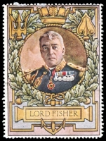 Lot 8:Great Britain: c.1916 multi-coloured label with portrait of Lord Fisher issued for Lord Roberts Memorial Fund.