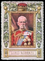 Lot 9:Great Britain: c.1916 multi-coloured label with portrait of Lord Roberts issued for Lord Roberts Memorial Fund.