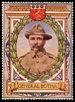 Lot 95:South Africa: c.1916 multi-coloured label with portrait of General Botha issued for Lord Roberts Memorial Fund.