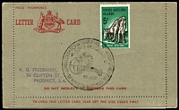 Lot 3625:Letter Card: Stampless Australian Letter Card issued for use in territories with Cocos 5d Anzac tied by Junior Chamber International World Congress 50th Anniversary Sydney 27 NOV 1965, interesting item.