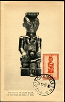 Lot 3359:1948 10c Native Art tied to Maxi card by Leopoldville cds 21 12 51.