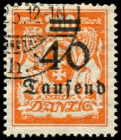 Lot 3409:1923 Overprints Mi #158 40T on 200M orange.