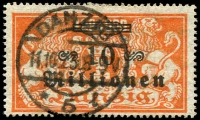 Lot 3985:1923 Overprints Mi #168 10 Mill on 1 Mill orange.