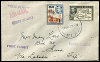 Lot 22038 [1 of 2]:1947 Suva - Labasa cover with KGVI adhesives tied by Suva cds 15MR47 and with Labasa backstamp 16MAR47.