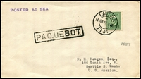 Lot 3724:1949 cover to USA franked with 1c KGVI Canadian stamp tied by Lautuka double circle cds 13 JUN 49 with boxed PAQUEBOT in black at left and Posted at Sea handstamp.