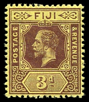 Lot 3447:1912-23 KGV Die I Wmk Multi Crown/CA SG #130 3d purple/yellow.