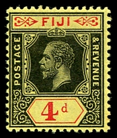 Lot 3448:1912-23 KGV Die I Wmk Multi Crown/CA SG #131 4d black & red/yellow.