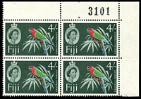 Lot 21965:1959-63 QEII Definitives Wmk Multi Script CA SG #308 4/- red, green, blue & slate-green corner block of 4 with sheet number.
