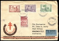 Lot 3480:1953 Tuberculosis set tied to illustrated FDC by Helsinki cds 16 11 53.