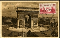 Lot 3485:1938 65c+35c Armistice Day tied to Maxi card by Paris cds 11-11-1938 being Armistice Day, fine early card.