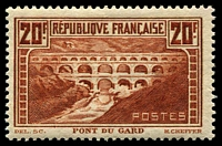 Lot 3741:1929-31 Definitives SG #475b 20f Pont Du Gard P13, MVLH, Cat £375.