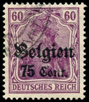 Lot 21711:1916 Overprints: Mi #21 75c on 60pf violet.