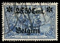 Lot 3529:1916 Overprints: Mi #24.I.A 2F50Cent on 2M blue.