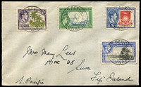 Lot 3538 [1 of 2]:1947 Cover to Fiji with KGVI 3d, 6d, 2/6d & 5/- tied by Funafuti double ring cancel.
