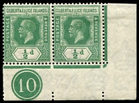 Lot 4031:1922-27 KGV Mult Script CA Wmk SG #27 ½d green corner pair with plate no 10.