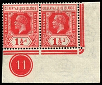 Lot 4032:1922-27 KGV Mult Script CA Wmk SG #29 1½d scarlet corner pair with plate no 11.