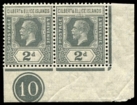 Lot 4033:1922-27 KGV Mult Script CA Wmk SG #30 2d slate-grey corner pair with plate no 10.