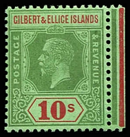 Lot 4034:1922-27 KGV Mult Script CA Wmk SG #35 10/- green & red/emerald marginal example.