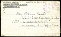 Lot 3690:1947 usage of POW letter sheet to Germany - Russian Zone with POW No 268, Great Britain cancel in violet.