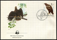 Lot 3636 [3 of 5]:1983 Birds of Prey SG #3507-9,3511 unmounted set of 4 on WWF pages giving details of this threaten species complete with the set on WWF illustrated FDCs unaddressed, nice lot. (8)