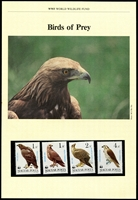 Lot 3636 [1 of 5]:1983 Birds of Prey SG #3507-9,3511 unmounted set of 4 on WWF pages giving details of this threaten species complete with the set on WWF illustrated FDCs unaddressed, nice lot. (8)